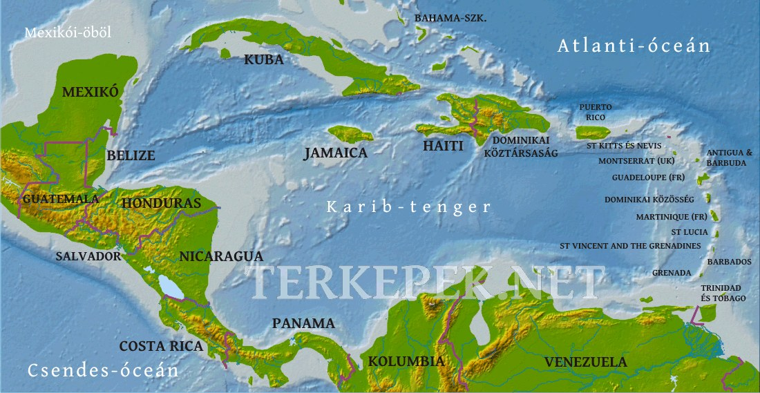 dél amerika országai térkép Közép Amerika domborzati térképe dél amerika országai térkép